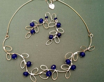 Blue glass beads and brass sets