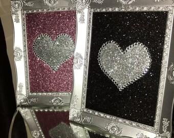 bespoke handmade glitter love heart diamant frame 5x7 silver frame essex bling sparkle