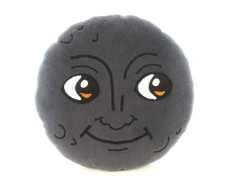 New moon face pillow | Creepy moon cushion | Dark moon emoji - SoftDecor