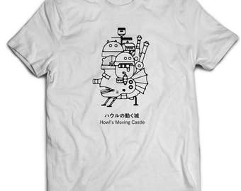 Studio Ghibli Howl's Moving Castle Japanese Anime Unisex T-Shirt White Cotton
