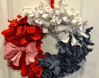 Red, white, and blue rag wreath