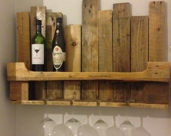 Handmade Pallet Wine Shelf