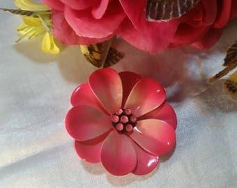 Vintage Estate 60's Large Flower Two Tone Pink Enamel Brooch