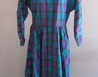 Vintage 80s Womens Liz Claiborne Plaid Dress