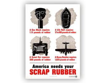 World War 2 Poster, America Needs Your Scrap Rubber, Vintage Style Print, 1940s Wartime Promotional Scrap Drive Propoganda