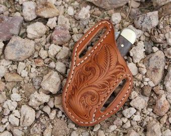 Knife scabbard, knife sheath, pocket knife case, leather knife sheath, leather knife scabbard, leather tooling, tooled leather, custom knife