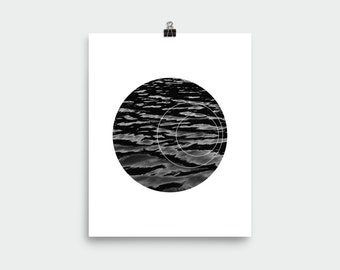 Black and White Geometric Water Graphic Art (Unframed)