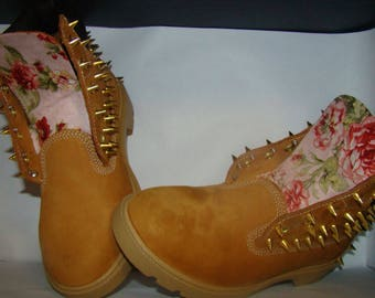 Pink Floral Print Gold Spike Studded Timberland Boots with Spikes In Back