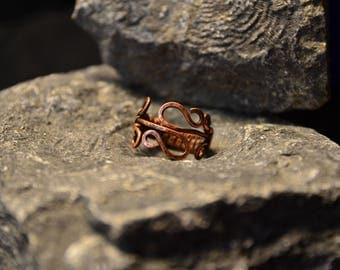 Copper Wire Wrap Ring, wire weaving, hammered wire wrapped ring, copper ring, swirly copper ring, antiqued copper ring, antiqued