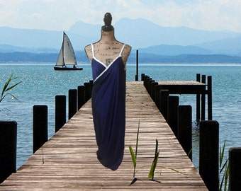 Long Navy wrap around Swimsuit Cover