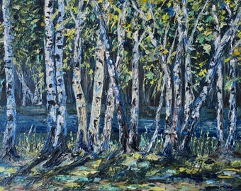 Birch Grove / trees / summer forest/ forest/canvas/Birch/picture in the living room