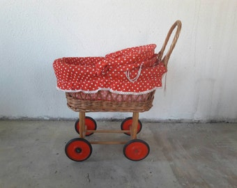 Rattan Stroller Trolley with Red Polkadots