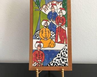 Vintage Persian wall Plaque, Trivet,Wall Hanging, Persian Tile,Hand painted Folk Art, Persian Folk Art, Persian Decor, Iranian Tile,