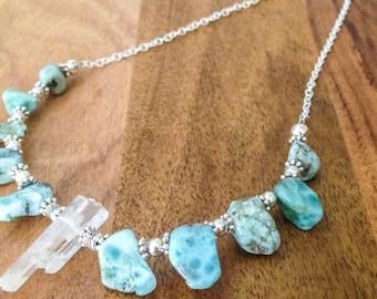 LARIMAR + Clear Quartz Necklace