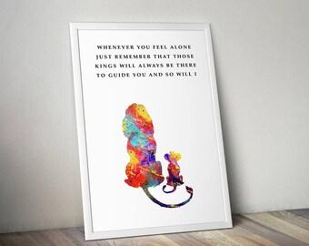 The Lion King inspired, Mufasa and Simba, Watercolor Art Print, Wall Art, Home Decor, Inspirational Art, Home Decor,