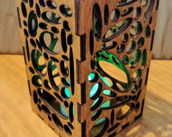 "Laser Cut ""Geometrics Elipse"" Wooden Candle Holder"