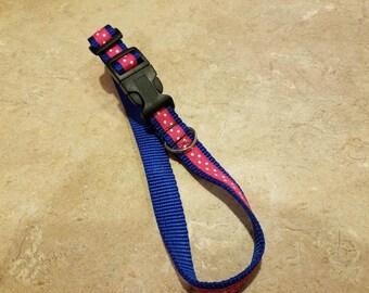 Handmade pink polka-dot dog collar