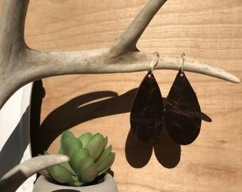 Dark brown leather teardrop earrings