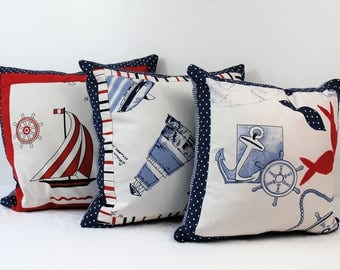 Trio of covers for cushions sea series, gift for him, gifts for her, for the Beach House, children's furniture