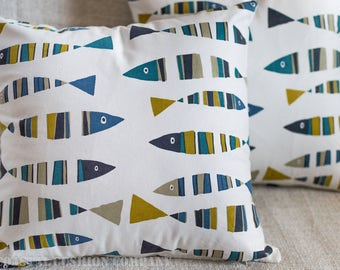 "Seaside Sardines Nautical Cushion Cover. Green and marine navy blue fish. 17"" x 17"" Square, made with 100% cotton fabric."