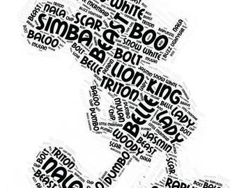 Mickey Mouse Word Art Silhouette File