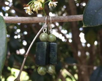 Serpentine Stone Sterling Silver Drop Earrings