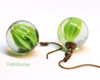 Glass earrings greenery - beads 15 mm