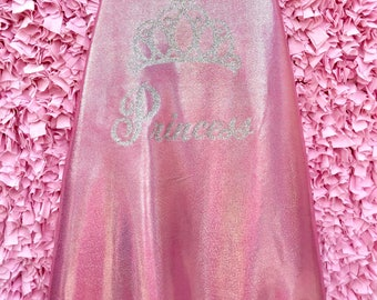 Pink Iridescent Princess Cape With Fur Trimmed Hood