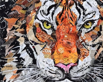 Tiger collage giclee fine art print