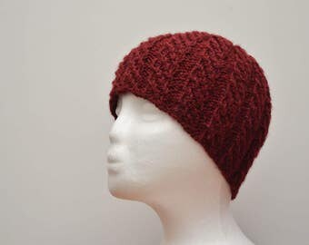 Handmade Cable Knit Hat, Winter Hat, Burgundy