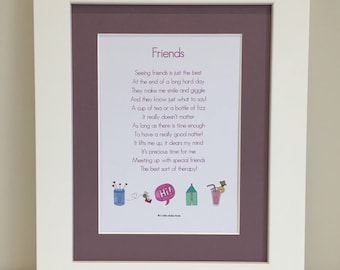 Friends Poem, Friends Print, Gift for Friend, Gift for Her, Best Friend, Her Birthday, Thank You Gift, Wall Art, Mounted Print