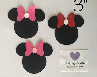 Minnie Mouse Head 3 inches / Minnie Mouse Die Cut / Minnie Mouse Decoration / Minnie Birthday Party / Minnie Ears / Minnie Mouse Head