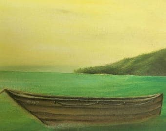 Boat on Peaceful Waters - A serene landscape painting