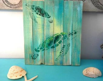 Sea Turtle Pallet Art, Reclaimed wood art, Repurposed wood art, Ocean art, Marine art, Green turtle wall art, Coastal Decor