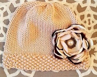 Sweet baby girl knitting hat prop
