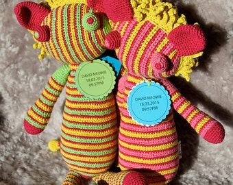 Lion handmade crochet colorful fun easy-care cotton washable