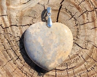 Beige and Gray Fossil Heart Stone Pendant With Silver Plated Bail - Fossil Stone Pendant Stone Necklace - Fossil Stone Pendant Jewelry