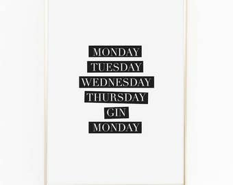 Print / Poster, 'Gin', Wall Art, Modern, Minimal, Wall Decor, Home Decor, Inspirational Print, Quote Print, Scandinavian, Typography