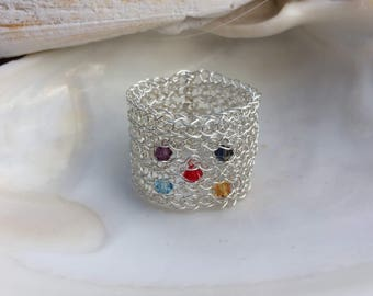 Glio Cure Band Ring - Silver Wire Crochet - handmade - Hand-Knitted - Swarovski crystals - For Cure