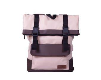Waxed Canvas Backpack,Roll Top Backpack,Rolltop Rucksack,Vegan Backpack,College Backpack,Everyday Backpack,Gift for Her, Beige Backpack
