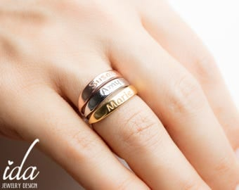 Stackable Name Rings - Personalized Ring - Gold Name Ring - Rose Gold Ring - Mothers Ring Stackable - Custom Hand Stamped Ring - Custom Name