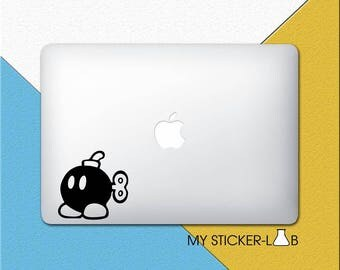 Bob-omb MacBook Decal Mario Bob-omb MacBook Sticker Bob omb Decal Super Mario Bob-omb Sticker Bobomb Bomb Game Laptop Decal Vinyl m205