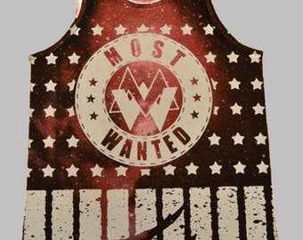 Red Most Wanted Galaxy All Over Print Tanktop – Available in multiple sizes