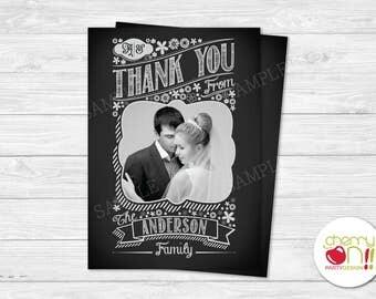 Simple Photo, Chalkboard Wedding Thank You Card (Digital File)