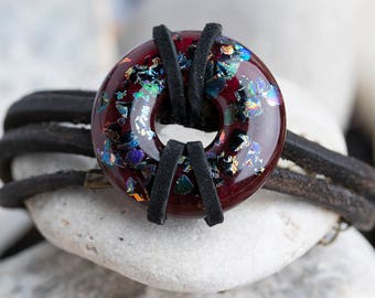 Fused Glass Pendent Wrap Bracelet