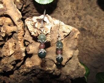 Dangling earrings india agate hourglass shape