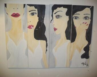 Pink lipstick, huge modern painting  on canvas, 60x80 , handmade art, artwall,acrylics.