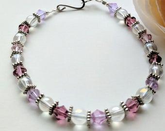 Beautiful Shades of Purple Glass Beaded Stacking Bracelet