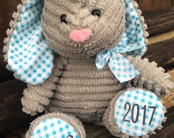 Personalized Bunny, Easter bunny, Personalized Easter Bunny, Stuffed bunny, Gray bunny, Corduroy bunny, Stuffed Animal, Easter basket