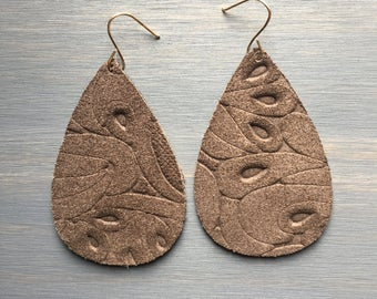 Chocolate Suede Floral Leather Earrings